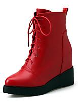 Для женщин Ботинки Удобная обувь Натуральная кожа Кожа Весна Повседневные Удобная обувь Черный Красный На плоской подошве