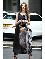 Women's Going out Casual/Daily Cute A Line Dress,Print Round Neck Maxi Sleeveless Polyester Spring Summer Mid Rise Inelastic Medium
