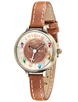 Women's Fashion Watch Quartz Leather Band Brown Green