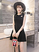 Women's Party Birthday Sexy A Line Dress,Solid V Neck Mini Sleeveless Cotton Others Summer Mid Rise Micro-elastic Medium