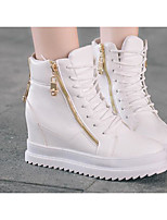 Women's Sneakers Comfort PU Spring Casual Screen Color Black White Flat
