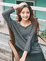 Women's Casual/Daily Regular Pullover,Solid Round Neck ¾ Sleeve Others Spring Summer Medium Micro-elastic