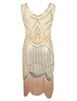 Latin Dance Dresses Women's Performance Sequin Polyster Tassel(s) Paillettes 1 Piece Sleeveless High Dress
