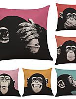 Set of 6 Poster Gorilla Pattern Linen Pillowcase Sofa Home Decor Cushion Cover  Throw Pillow Case (18*18inch)