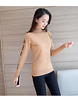 Women's Going out Casual/Daily Simple Regular Cardigan,Solid Crew Neck Long Sleeve Cotton Winter Medium Micro-elastic