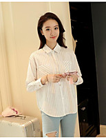 Women's Casual/Daily Simple Summer Shirt,Striped Shirt Collar Long Sleeve Polyester