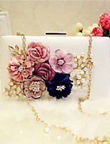Women Evening Bag PU All Seasons Event/Party Party & Evening Club Baguette Flower Magnetic Apricot Blushing Pink Black White