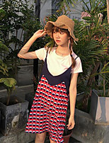 Women's Casual/Daily Simple Spring Summer T-shirt Dress Suits,Striped Round Neck Short Sleeve