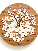 Modern/Contemporary Casual Floral & Botanicals Wall Clock,Round Novelty Wooden Indoor Clock