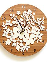 Moderne/Contemporain Décontracté Fleurs et Botanicals Horloge murale,Rond Nouveauté Intérieur Horloge