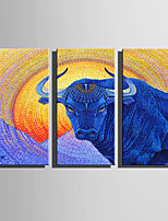 E-HOME Stretched Canvas Art Abstract Angry Cow Decoration Painting Set Of 3