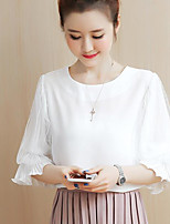 Women's Going out Cute Blouse,Solid Round Neck ½ Length Sleeve Others