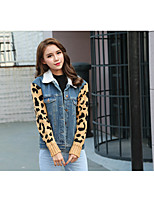 Women's Casual/Daily Sexy Vintage Winter Denim Jacket,Leopard Shirt Collar Long Sleeve Regular Cotton Others Patchwork