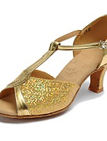 Women's Latin Paillette Heels Indoor Sequin Buckle Cuban Heel Gold 2