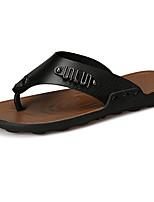 Herren Slippers & Flip-Flops Komfort PU Sommer Normal Komfort Mit Besatz Flacher Absatz Schwarz Orange Braun Flach