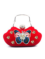 L.WEST Woman Fashion Luxury High-grade The Eembroidery The Butterfly Diamond Nail Bea Flowers Evening Bag