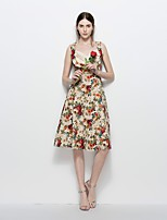 Women's Party Plus Size Beach Holiday Going out Casual/Daily Sexy Vintage Simple A Line Loose Sheath Dress,Flower/Floral V Neck
