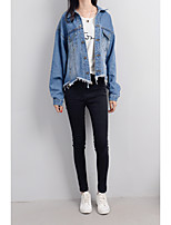 Women's Going out Casual/Daily Sexy Cute Spring Fall Denim Jacket,Solid Notch Lapel Long Sleeve Regular Cotton
