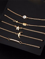 5 pcs/set Vintage Gold Color Crystal Moon Bracelet Set Punk Key Letter V Bracelets Love Moon Bijoux Jewelry Gifts