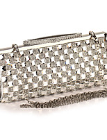 Women Evening Bag Polyester All Seasons Wedding Event/Party Formal Party & Evening Club Minaudiere Rhinestone Clasp LockAquamarine Silver