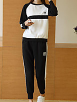 Women's Casual/Daily Street chic Spring Summer Hoodie Pant Suits,Striped Round Neck Long Sleeve Micro-elastic