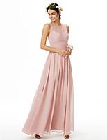 2017 LAN TING BRIDE Floor-length Jewel Bridesmaid Dress - See Through Sleeveless Chiffon Lace