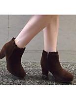 Women's Boots Comfort PU Winter Casual Dark Brown Beige Black 2in-2 3/4in