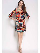 Для женщин На каждый день Оболочка Платье С принтом Контрастных цветов,Круглый вырез Выше колена Рукав ¾ Шёлк Лето С высокой талией