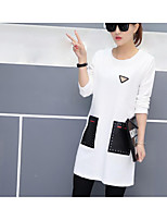 Women's Casual/Daily Simple Spring T-shirt,Print Round Neck Long Sleeve Cotton Thin