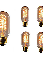 5pcs t45 e27 40w incandescent vintage edison ampoule pour restaurant club café bars lumière ac110-130v