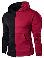 Casual/Daily Simple Hoodie Color Block Round Neck Micro-elastic Cotton PU Long Sleeve Spring Fall