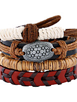 Retro National Wind Coconut Shell Woven Leather Bracelet