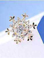 Feminino Outros Broches Cristal Zircônia cúbica Original Floral Moda Adorável Euramerican Cristal Zircão Cobre Jóias ParaCasamento Festa
