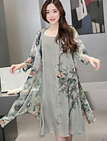 Women's Casual/Daily Simple Summer Blouse Dress Suits,Print Round Neck Long Sleeve Micro-elastic
