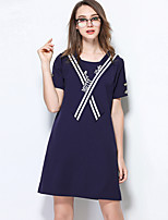 MEIDONGTAI Women's Casual/Daily Loose DressSolid Round Neck Above Knee Short Sleeve Acrylic Summer Low Rise Micro-elastic Medium
