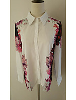 Women's Going out Casual/Daily Work Simple Cute Street chic Shirt,Floral Square Neck Long Sleeve Polyester