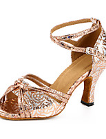 Personnalisables Femme Latines Similicuir Sandales Baskets Professionnel Boucle Talon Bottier Bronze 5,1 à 7cm