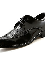 Men's Oxfords Comfort PU Spring Fall Casual Walking Comfort Lace-up Flat Heel Gold Black Black/Red 2in-2 3/4in