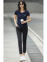 Tee-shirt Femme,Couleur Pleine Imprimé Quotidien Décontracté simple Manches Courtes Col en U Coton