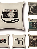 Set Of 6 Retro 3D Camera Printing Pillow Cover 45*45Cm Sofa Cushion Cover Creative Pillow Case
