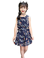 Girls' Fashion Floral Sets,Cotton Summer Sleeveless Clothing Set