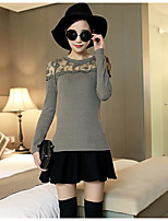 Women's Going out Regular Pullover,Solid Round Neck ¾ Sleeve Silk Spring Medium Micro-elastic