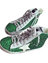 Women's Sneakers Spring Comfort Canvas Casual Green Silver Black