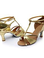 Women's Latin Paillette Sandals Indoor Sequin Heel Gold Customizable
