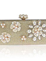 Women Evening Bag Polyester ABS+PC All Seasons Formal Event/Party Wedding Minaudiere Flower Crystal/ Rhinestone Clasp LockAquamarine Ruby