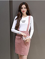 Women's Going out Casual/Daily Sports Cute Street chic Active Shirt Skirt Suits,Letter Round Neck Long Sleeve