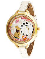 Women's Fashion Watch Quartz Digital Water Resistant / Water Proof PU Band White Brown
