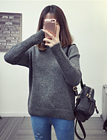 Women's Casual/Daily Long Pullover,Solid Round Neck Long Sleeve Wool Cotton Winter Thick Stretchy