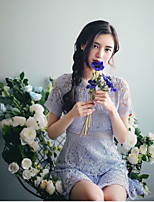 Для женщин Простое Очаровательный Длинный Кардиган Однотонный Полоски,Круглый вырез С короткими рукавами Искусственный шёлк Весна Тонкая