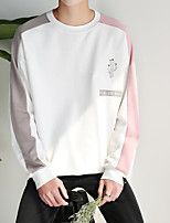 Men's Daily Sweatshirt Color Block Round Neck Inelastic Cotton Long Sleeve Spring Fall